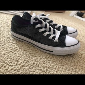 women's black sparkly converse all stars